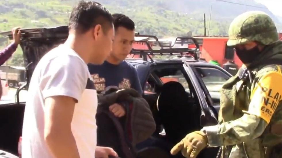 Instalan retenes en Chenalhó, Chiapas, tras robo de armamento a GN - Chenalhó, Chiapas reten