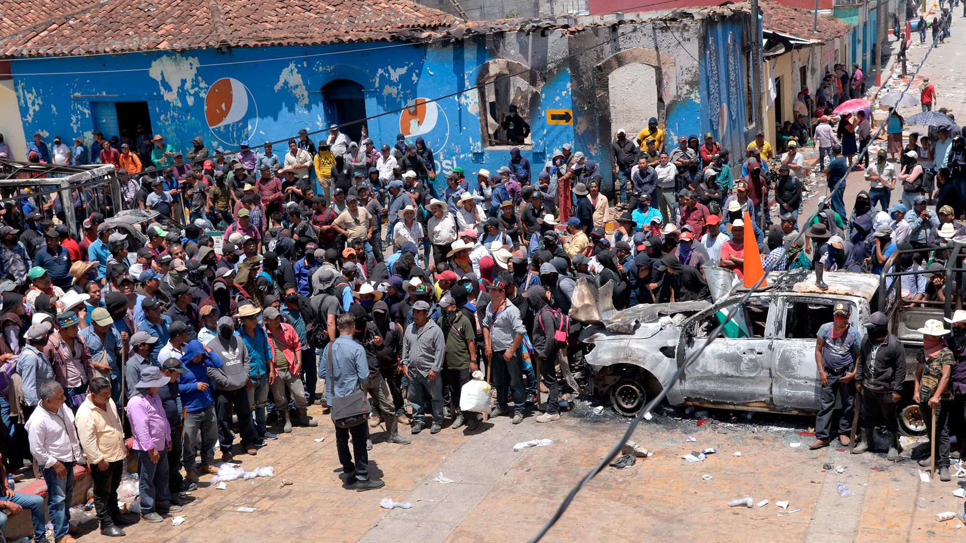 Pobladores toman Palacio Municipal de Pantelhó, Chiapas. Foto de EFE