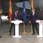 #Video Alerta real interrumpe visita de Pedro Sánchez a Lituania