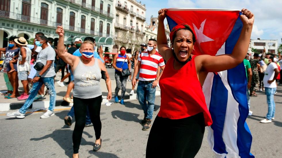 Inédita ola de protestas recorre Cuba al grito de ¡libertad! - Manifestación en La Habana, Cuba. Foto de EFE