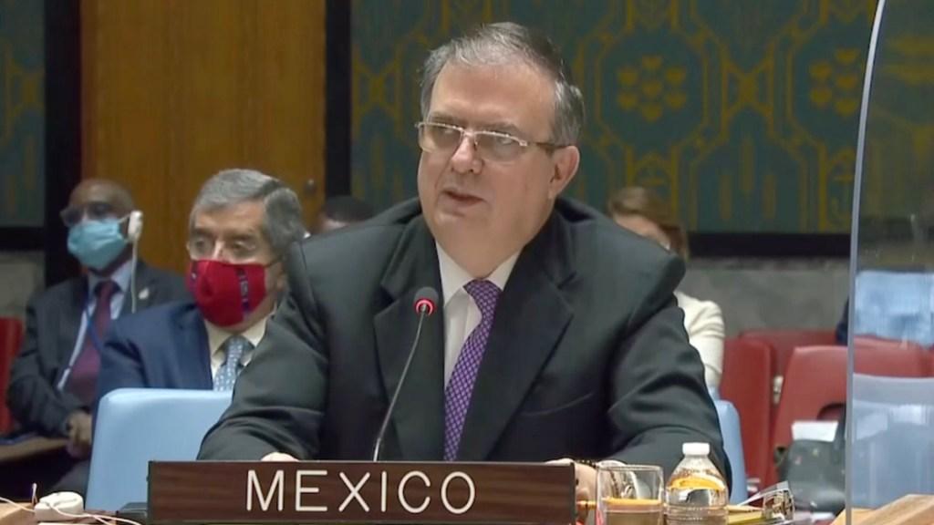 México urge ante Consejo de Seguridad de la ONU proteger espacios humanitarios - Marcelo Ebrard ante Consejo de Seguridad de la ONU. Foto de @MexOnu