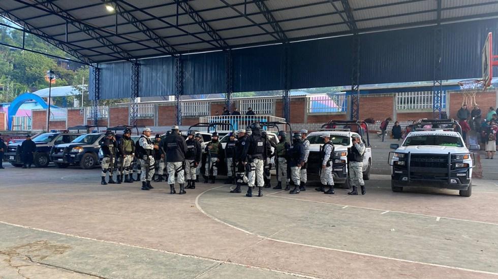 Liberan a más de 40 funcionarios retenidos en Oaxaca - Miembros de la Guardia Nacional en Santiago Textitlán, Oaxaca. Foto de @CuartaPlana