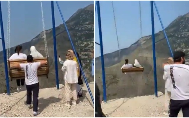 #Videos Mujeres caen de columpio ubicado a mil 500 metros de altura - Mujeres columpio barranco Rusia