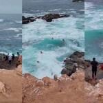 #Video Ola arrastra a turistas en Baja California que ignoraron advertencia