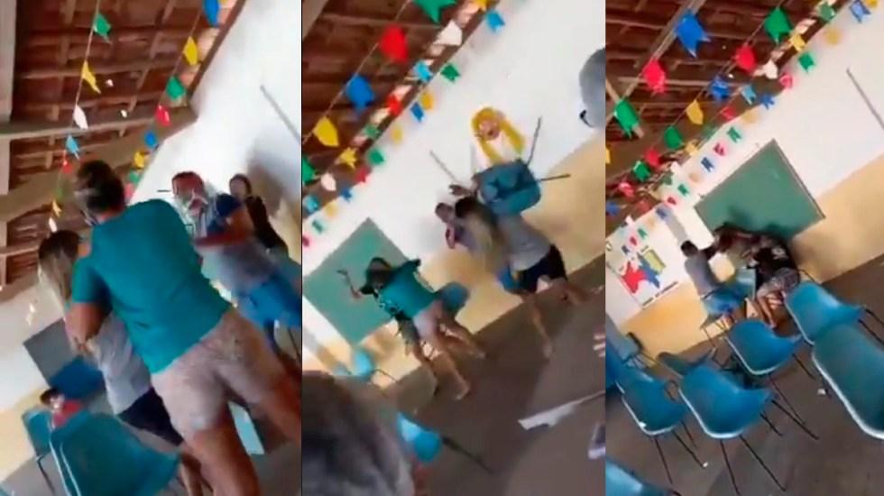 #Video Hombre acude con amante a vacunarse; se encuentra a su esposa - Pelea en centro de vacunación de Brasil. Captura de pantalla