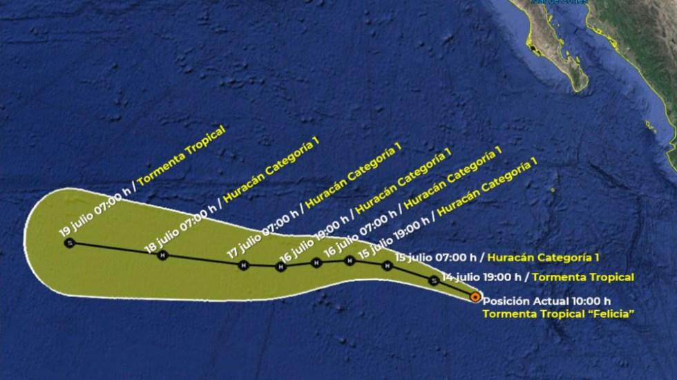 """Se forma tormenta tropical """"Felicia"""" en el Pacífico mexicano - tormenta tropical Felicia 14 julio 2021"""