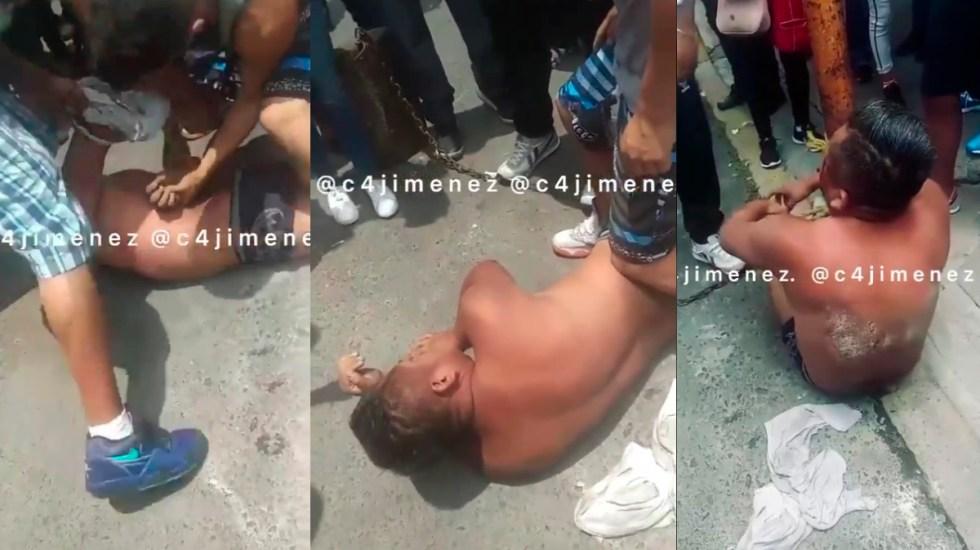 #Video Desnudan y golpean en Iztapalapa a presunto extorsionador - Agresión a presunto extorsionador en Iztapalapa