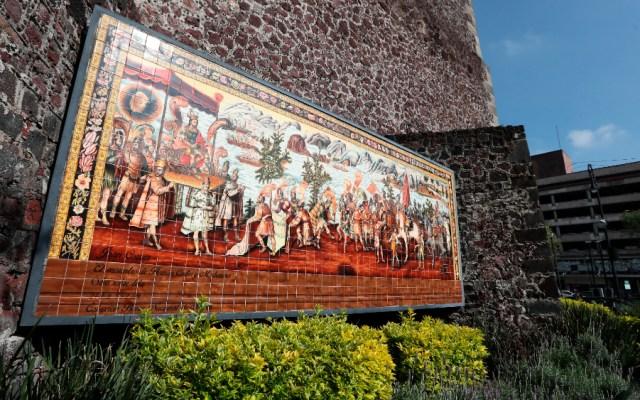 La conquista de México, desde que llegó Cortés hasta la caída de Tenochtitlan - Conquista México mural Cortés Moctezuma