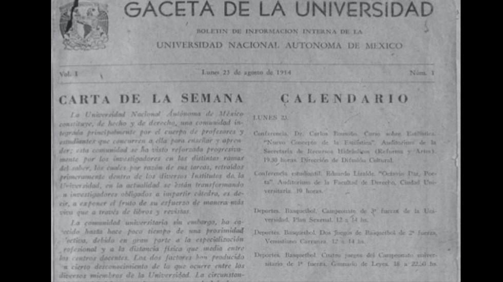 La Gaceta de la UNAM cumple 67 años; checa aquí su primer ejemplar - Gaceta de la Universidad. Foto Especial