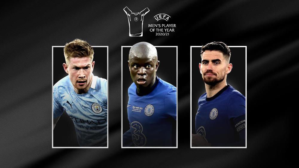 De Bruyne, Jorginho y Kanté, nominados al Jugador del Año en la UEFA - Nominados Jugador Año 20 21 UEFA