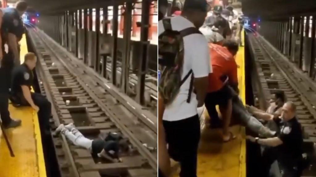 #Video Policía rescata a persona que cayó a las vías del Metro en Nueva York - Nueva York Metro policía rescate