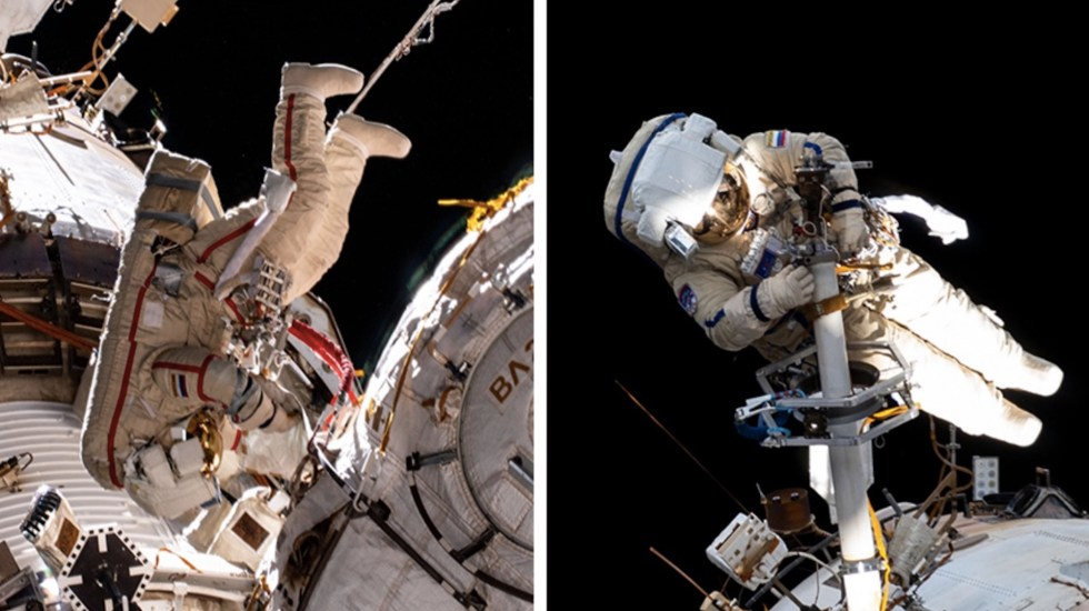 #Video Cosmonautas de la EEI concluyen con éxito caminata espacial - Caminata Espacial. Foto de NASA