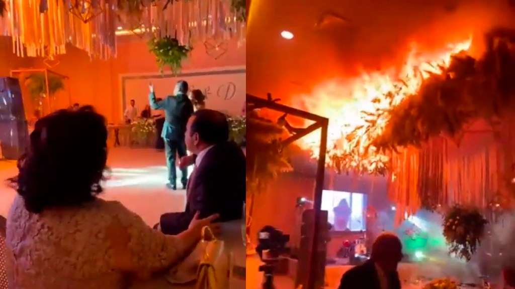 #Video Boda en Torreón acaba en incendio de salón de fiestas - Incendio de salón de fiestas durante boda en Torreón