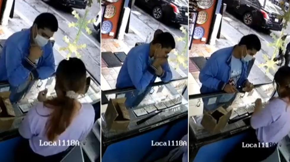 """#Video Sujeto se """"come"""" varias joyas para robarlas en Puebla - Joyas Puebla robo"""