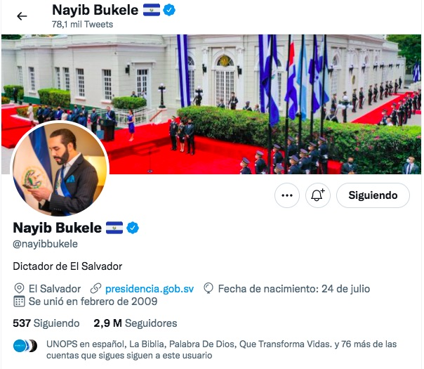 Perfil de Nayib Bukele en Twitter. Captura de pantallaPerfil de Nayib Bukele en Twitter. Captura de pantalla
