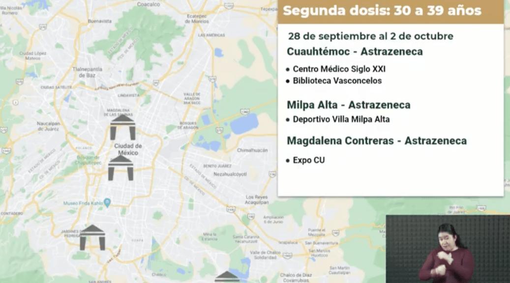 Vacunación en la Ciudad de México. Gráfico de Gobierno de la Ciudad de México.
