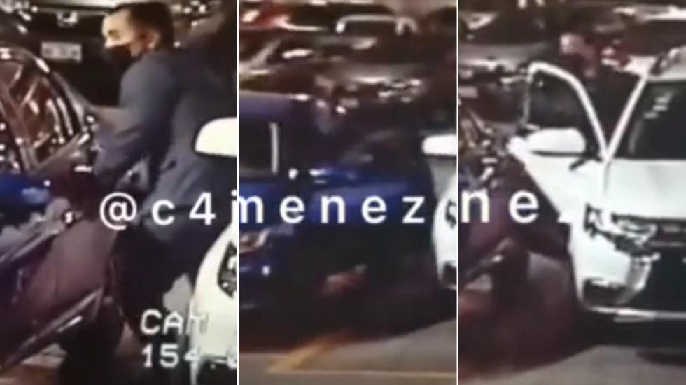 Sujeto roba en estacionamiento de Parque Delta - Robo estacionamiento PARQUE delta