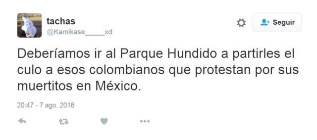 Twitter que recibe el colectivo Me Muevo Por Colombia.