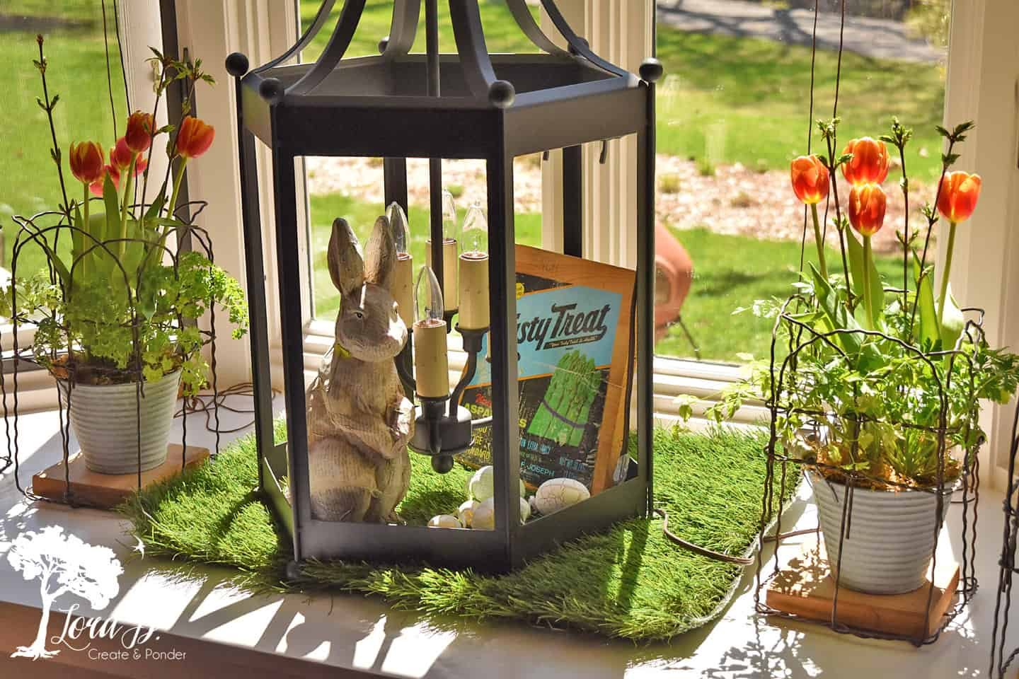 A bunny and tulips.