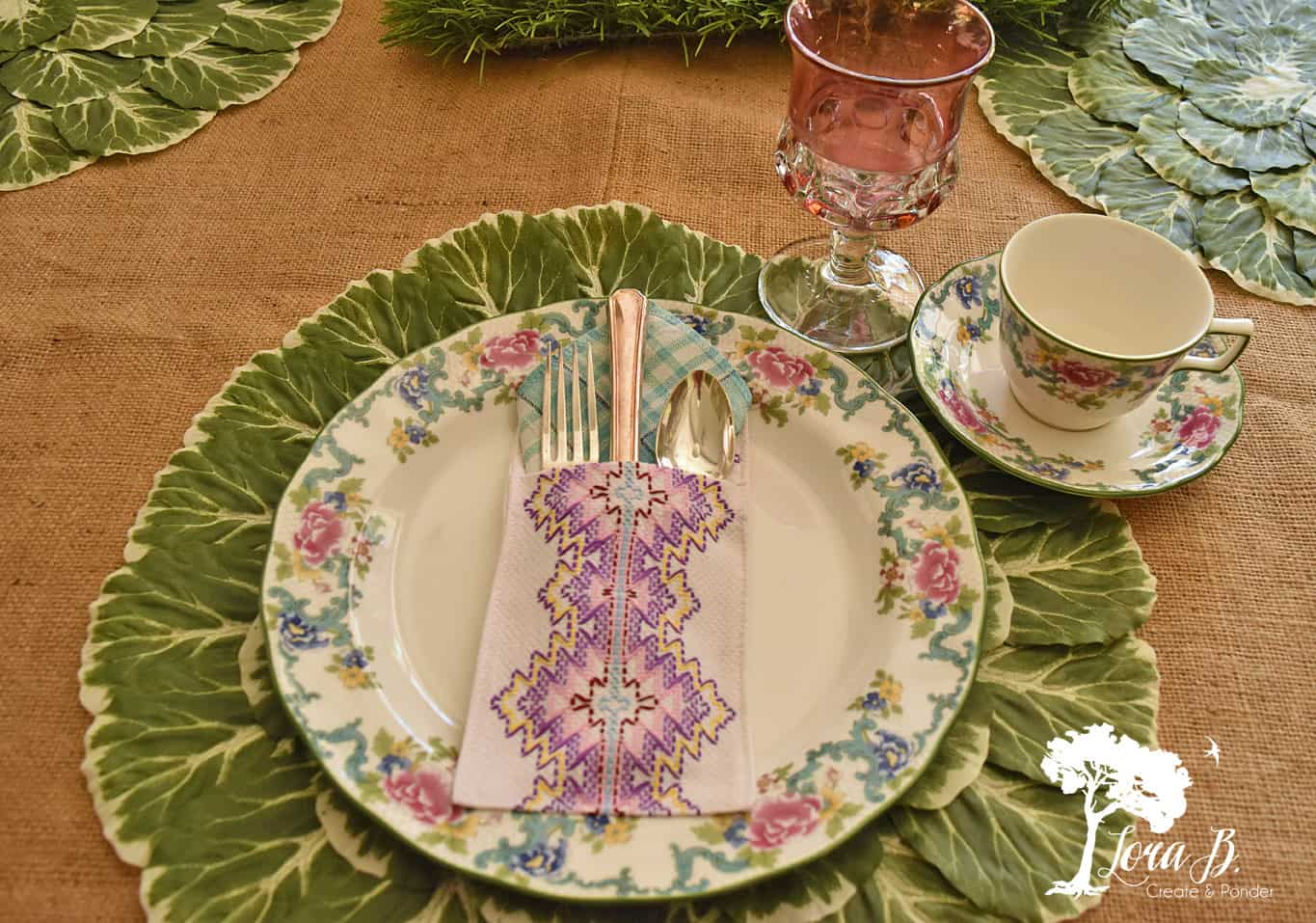 Floral china on a garden-inspired table.