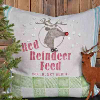 DIY Feedsack Stenciled Reindeer Pillow