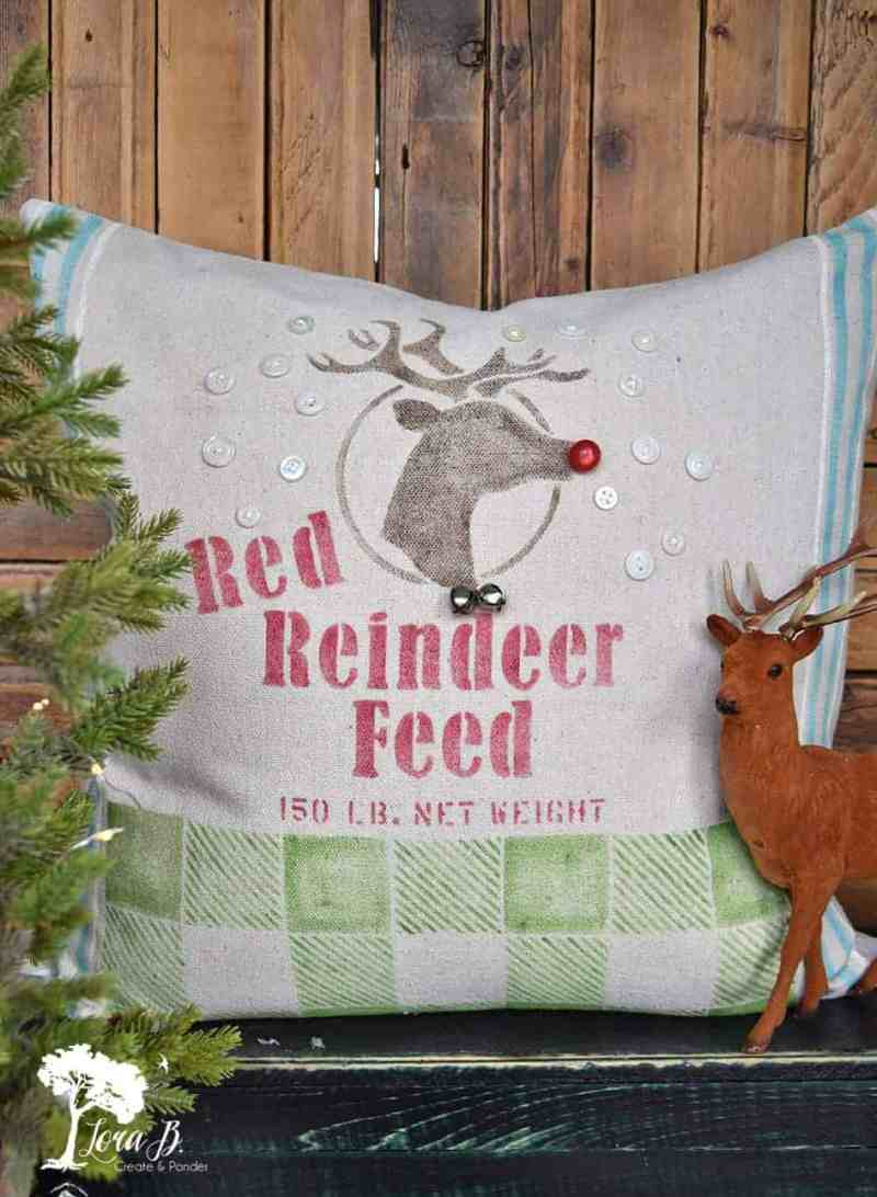 feedsack Rudolph pillow
