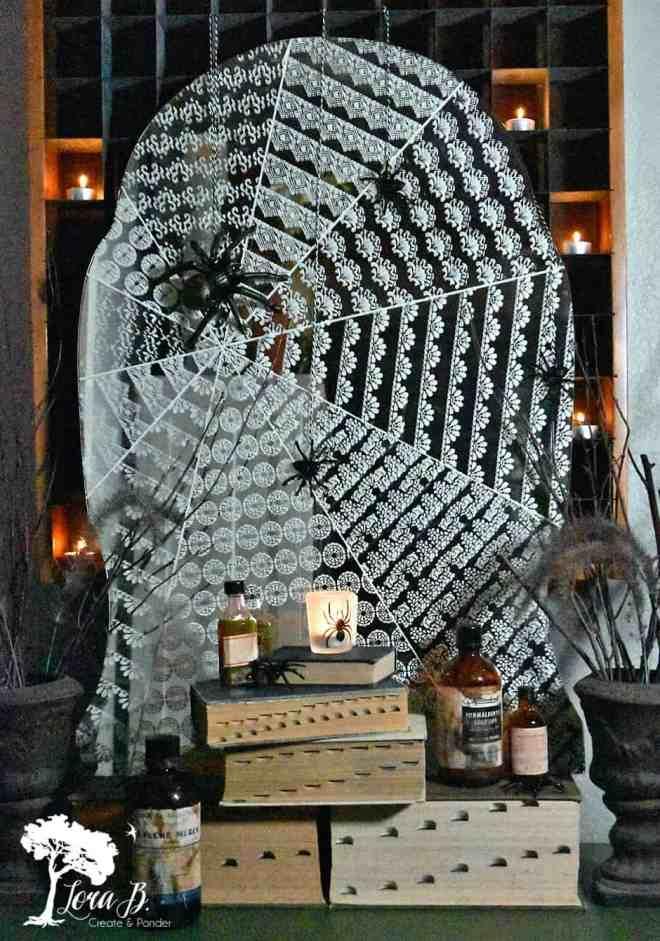 Stenciled Cobweb Mirror DIY