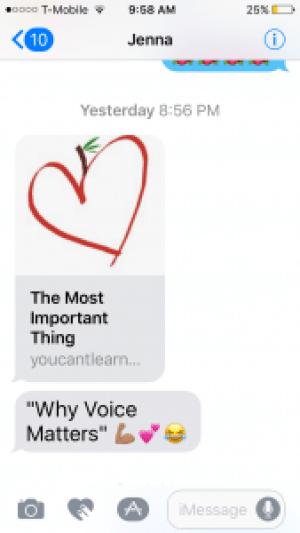 Text from Jenna: The most Important Thing