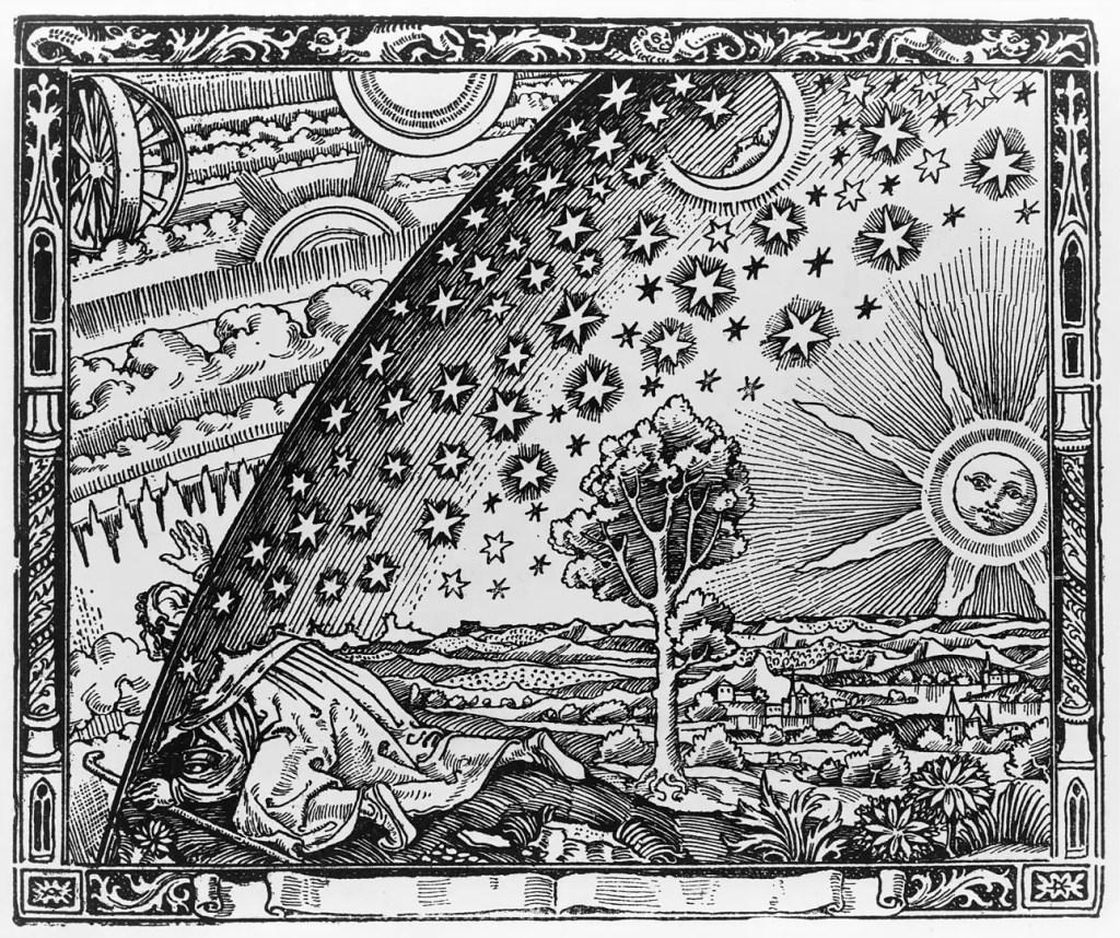 Illustration d'un voyage astral en gravure sur bois