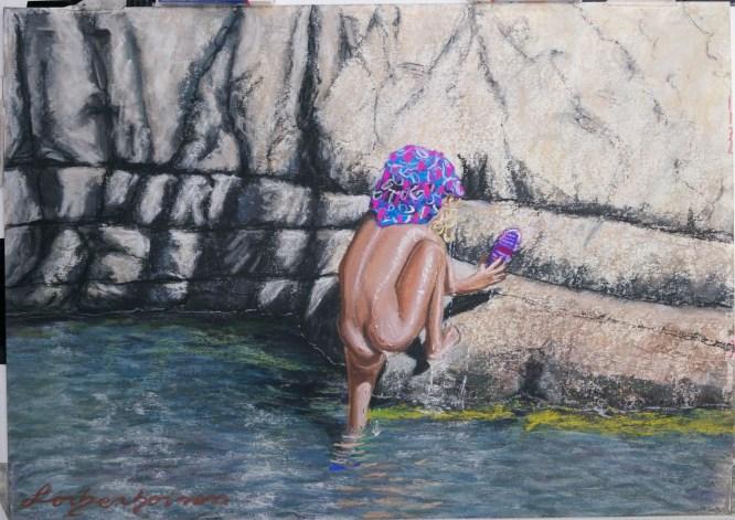Lorberboim Soft Pastel Painting. Lilya at water fall at Nahal David.