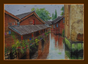 Restaurant terrace in Yangshou, China