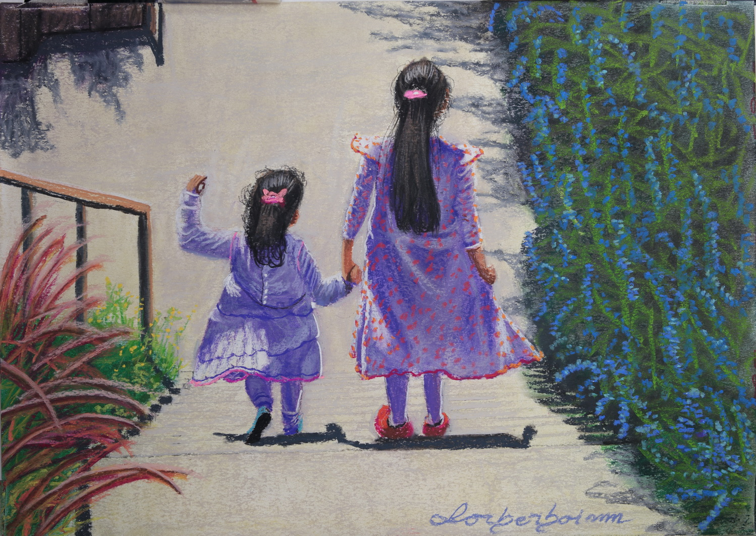 Two Sisters Holding Hands Togather, Lorberboim Soft Pastels Painting