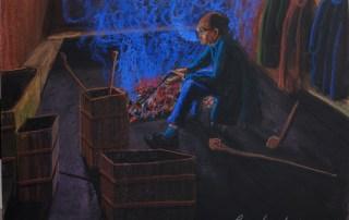 Lone smoker in community smoking room, Yangshuo, Guilin, Lorberboim Soft Pastel Painting.
