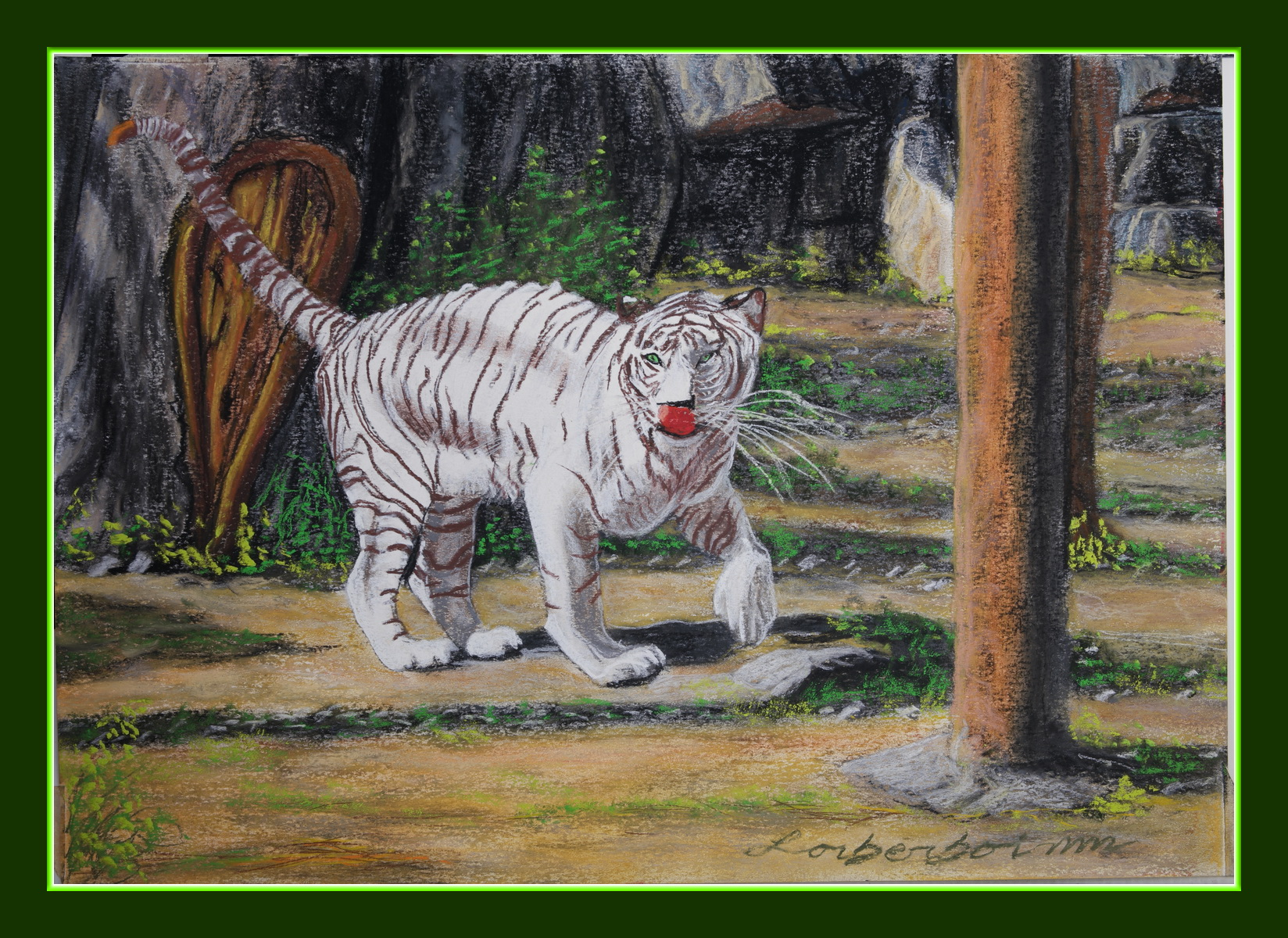 White Tiger, Chiang Mai Zoo, Lorberboim Soft Pastel Painting.