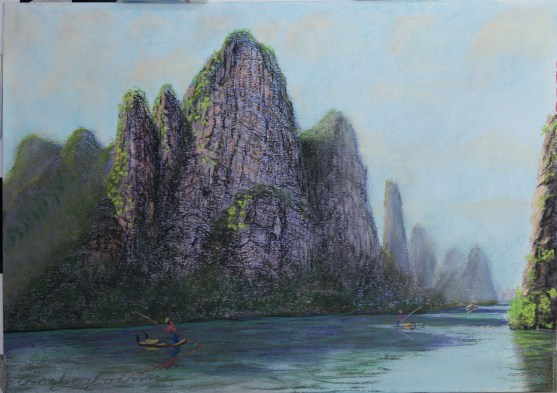 Fishing with Cormorant on Li River, Yangshuo, Guilin, Guangxi, China.  Lorberboim Soft Pastel Painting.