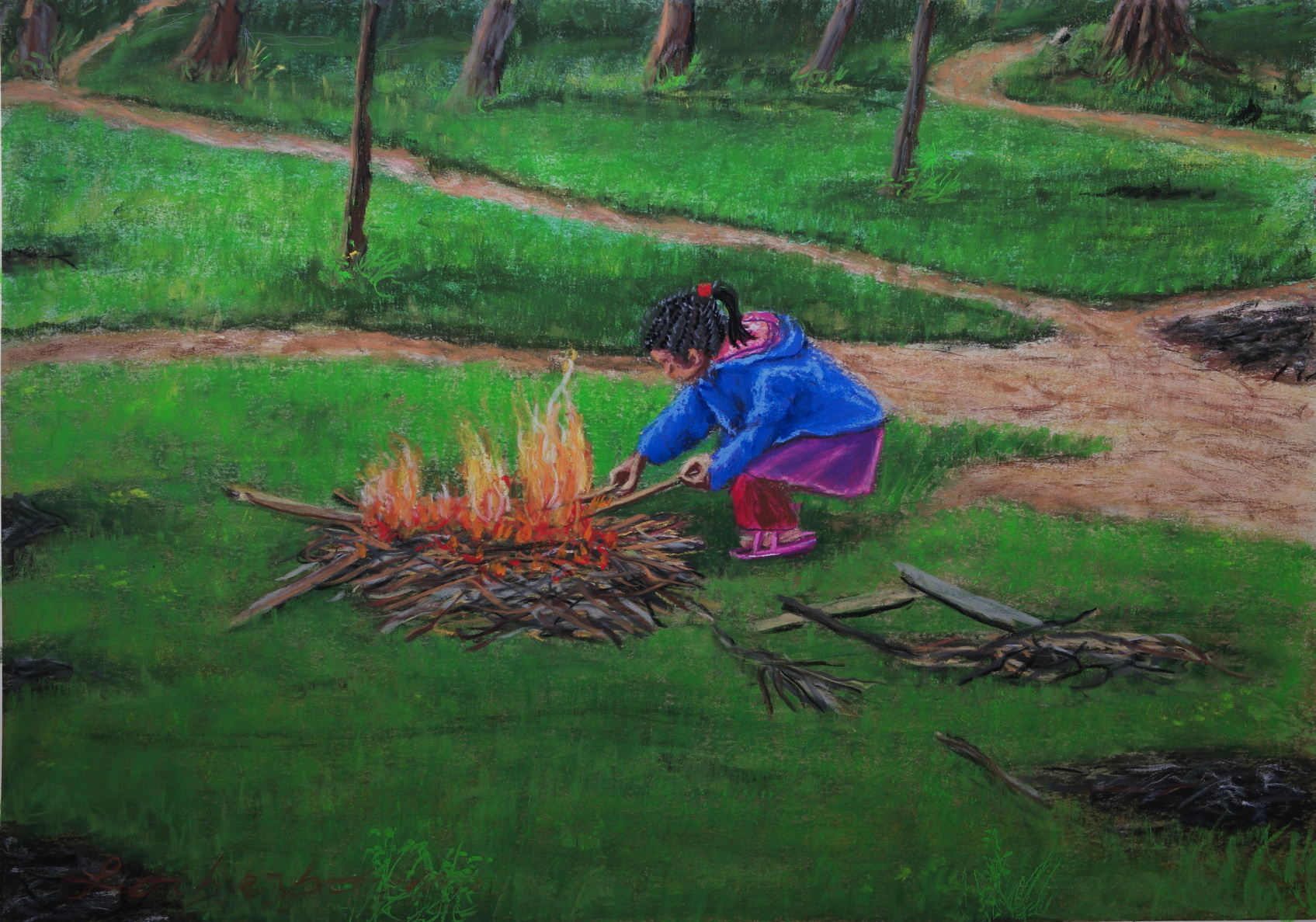 Little girl playing fire, Soft pastels, Koh Lanta, Laos. Lorberboim Soft Pastel Painting.