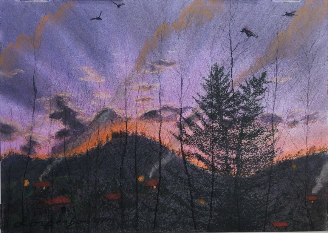Metula sun rise. Lorberboim Soft Pastel Painting.