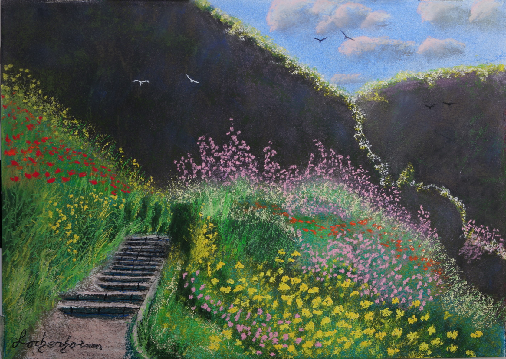 Nahal Ayun Morning light. lorberboim Soft Pastels Painting.