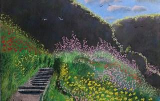 Nahal Ayun Morning light. lorberboim Soft Pastels Painting.