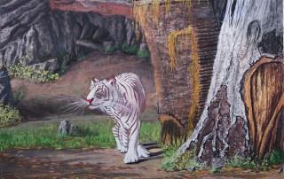 Lorberboim Soft Pastel Painting., Tlmuseum.com. White Tiger Chiang Mai zoo.