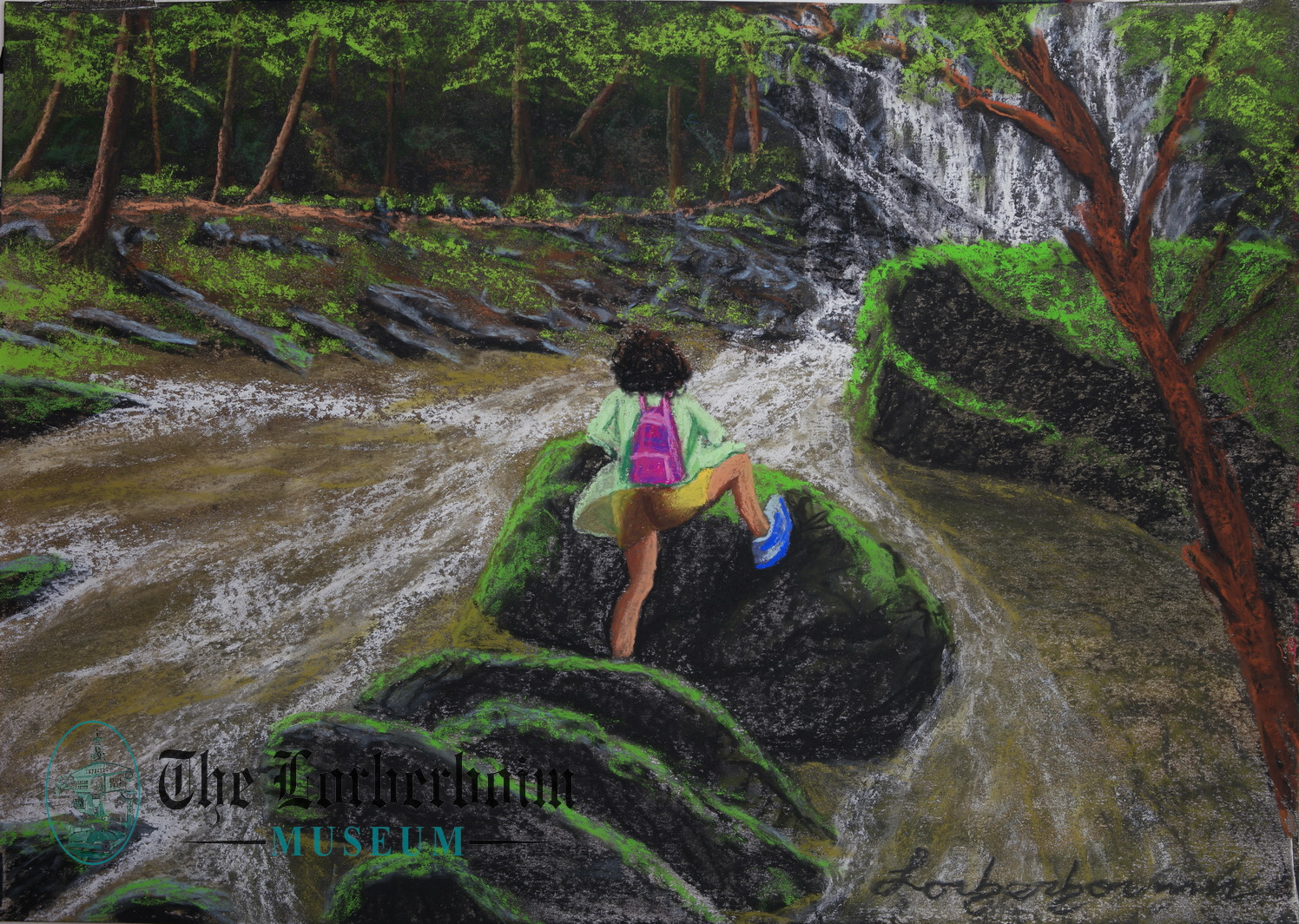 Lek climbs on rock in river, Museum, Lorberboim, Tlmuseum.com, artnot4sale, Lorberboim.com, Lorberboim Soft Pastel Painting,