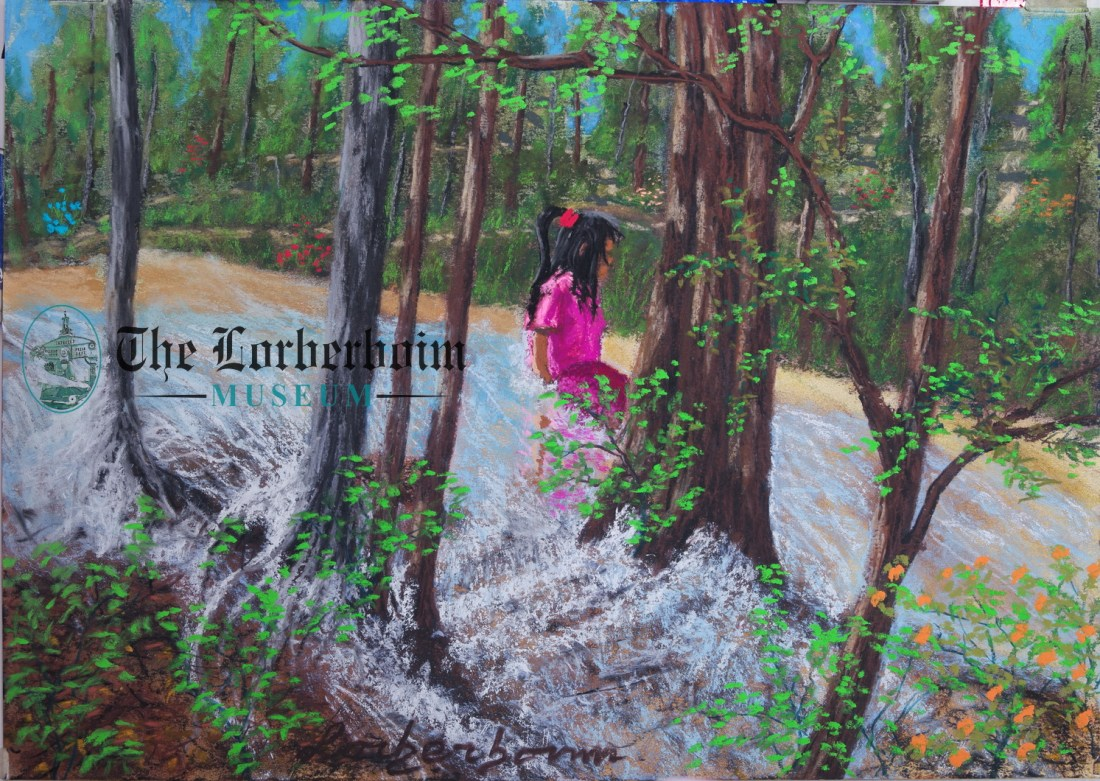 Girl playing at river, Museum, Lorberboim, Tlmuseum.com, artnot4sale, Lorberboim.com, Lorberboim Soft Pastel Painting,
