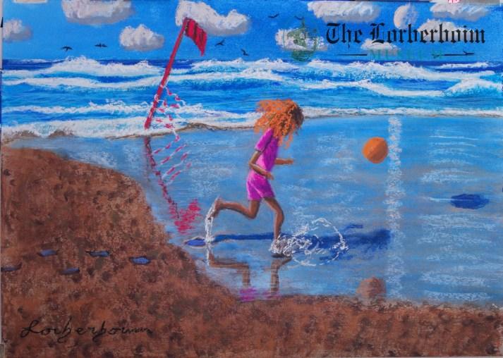 Girls playing at sea, Museum, Lorberboim, Tlmuseum.com, artnot4sale, Lorberboim.com, Lorberboim Soft Pastel Painting,