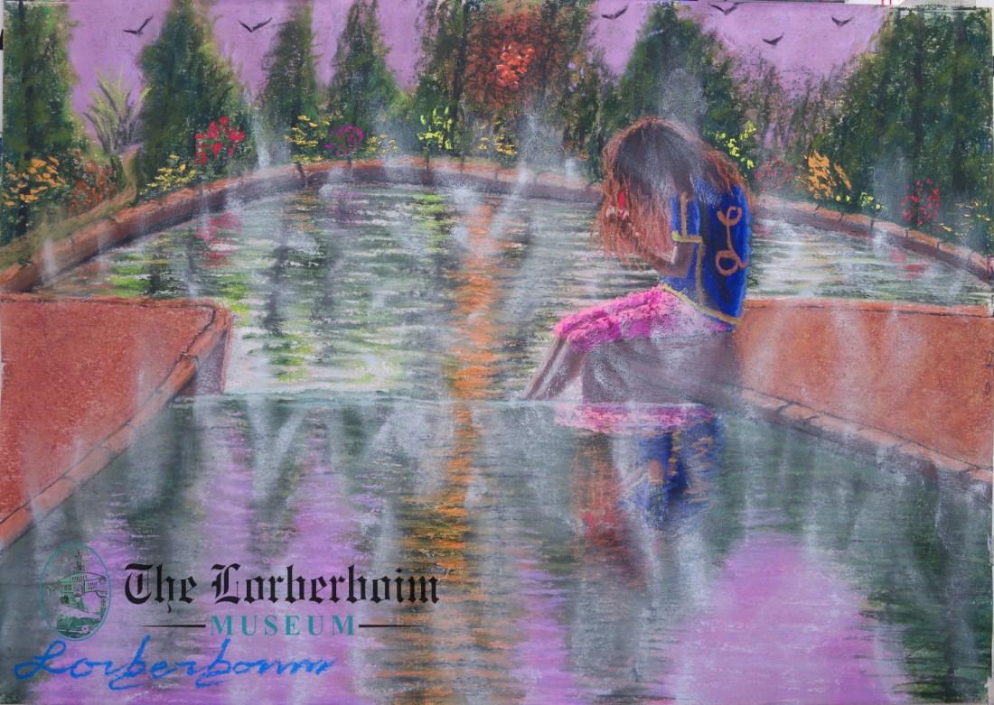 Girl in hot bath, Museum, Lorberboim, Tlmuseum.com, artnot4sale, Lorberboim.com, Lorberboim Soft Pastel Painting,