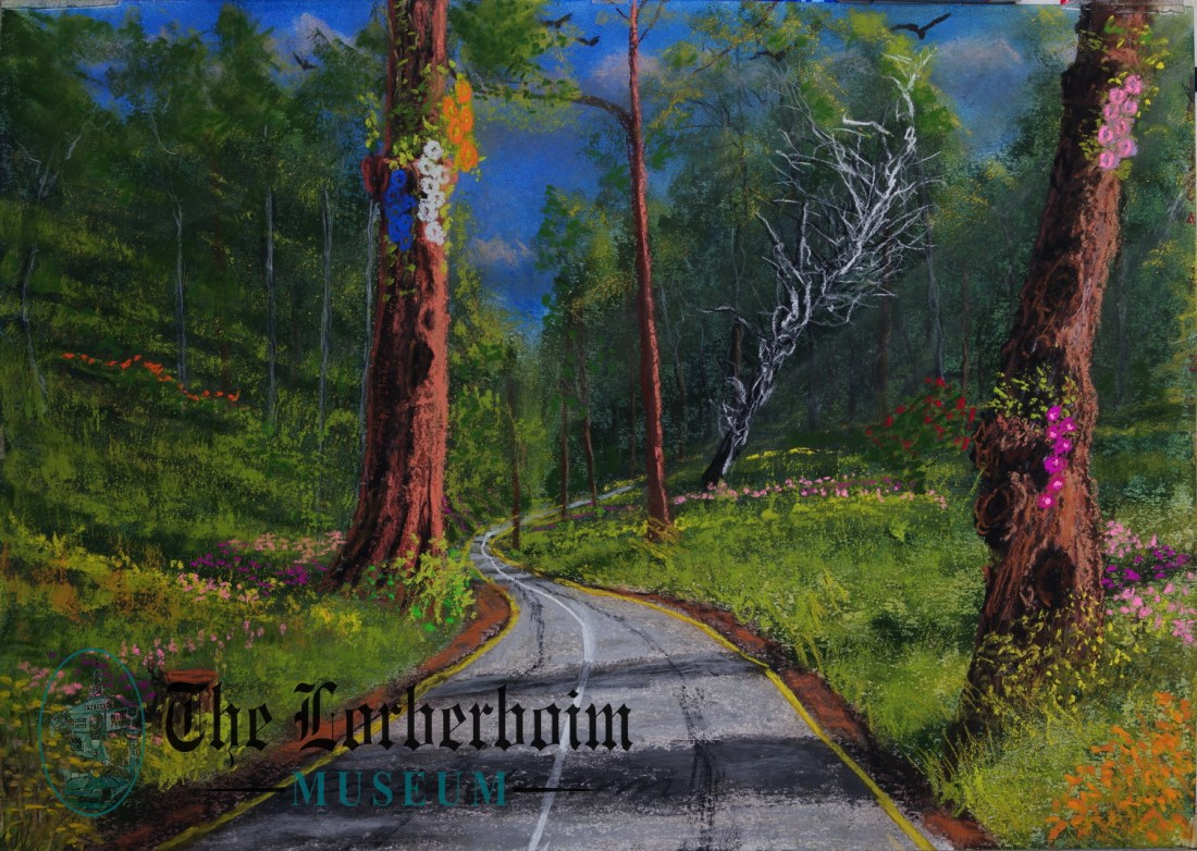 Two big trees beside road, Museum, Lorberboim, Tlmuseum.com, artnot4sale, Lorberboim.com, Lorberboim Soft Pastel Painting,