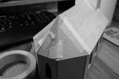Cardboard templates for roof end.