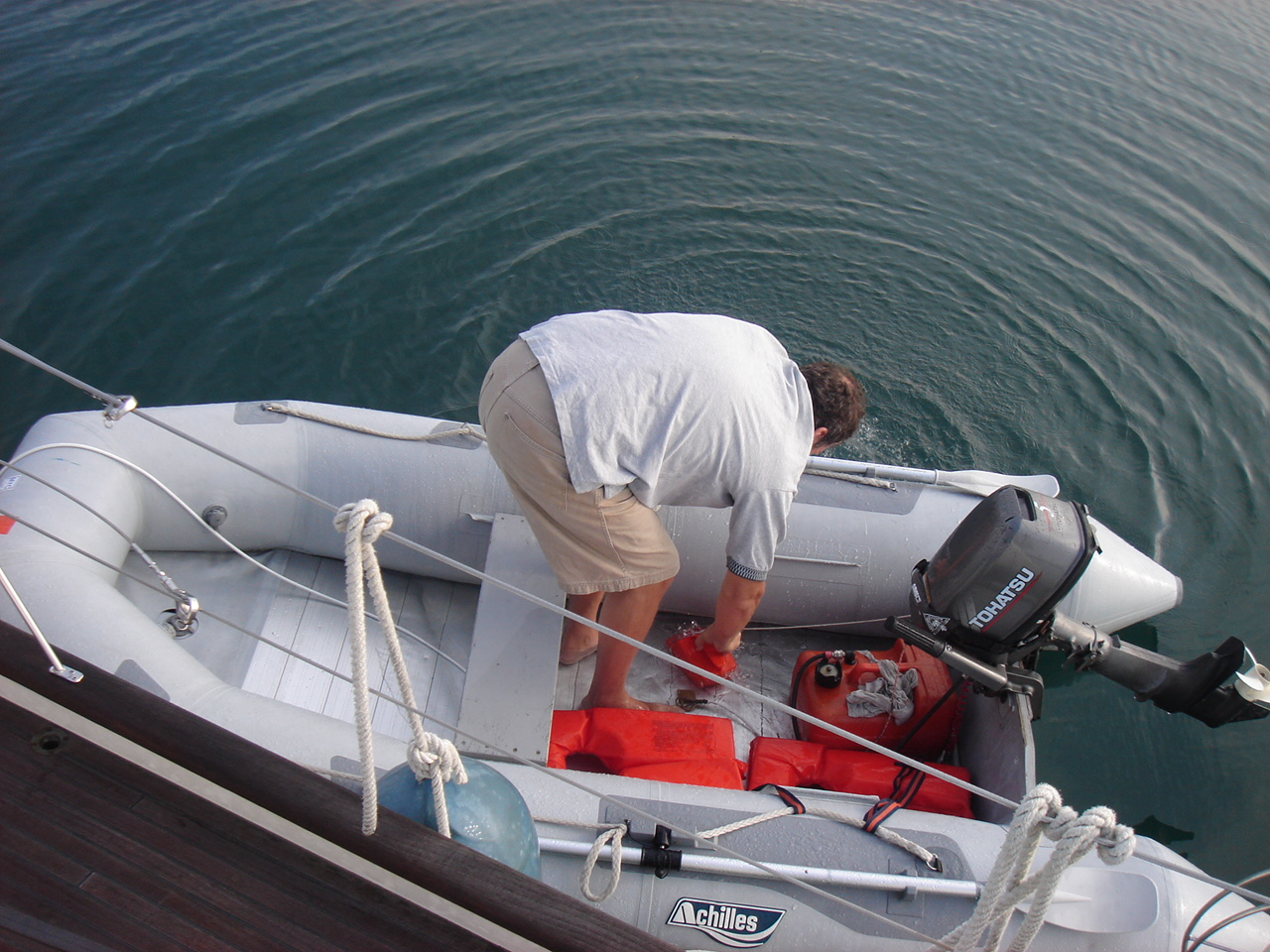 jens bailing out the dinghy