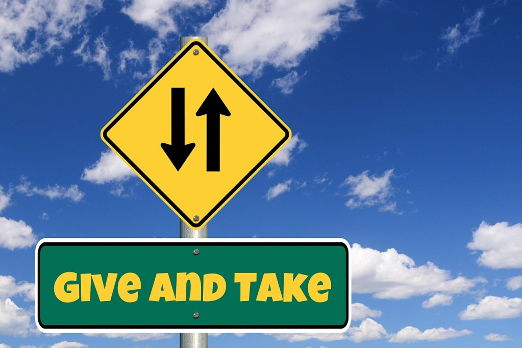 give and take, road sign, donation
