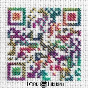 Psychedelic QR Code Cross Stitch