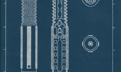 Lightsaber Blueprint Cross Stitch Embroidery by Lord Libidan